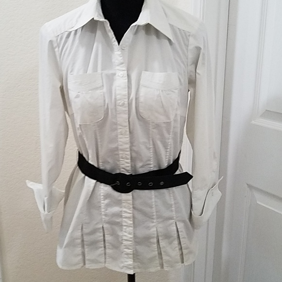 d600dc2e962 Dress Barn Tops | White Casual Blouse And Belt | Poshmark